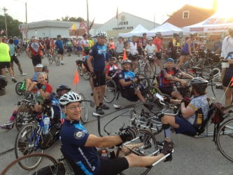 RAGBRAI 2012: Flying down the road and, boy, are their arms tired.