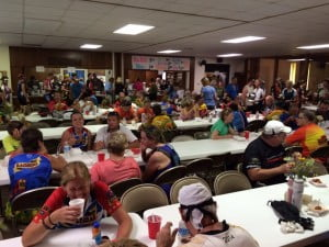 Hundreds of RAGBRAI riders feasted on hamballs in the fellowship hall at the Our Savior United Methodist Church in Manson.