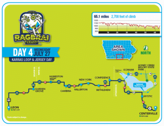 RAGBRAI Route: Wednesday, July 27 - Leon to Centerville