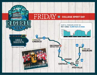 RAGBRAI Route: Friday, July 28 - Cresco to Waukon