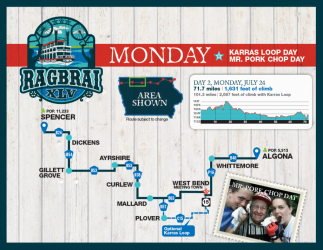 RAGBRAI Route: Monday, July 24 – Spencer to Algona