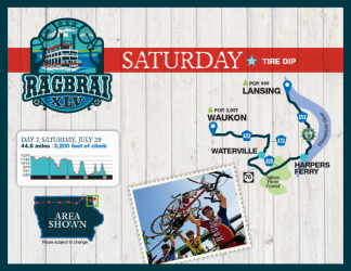 RAGBRAI Route: Saturday, July 29 - Waukon to Lansing