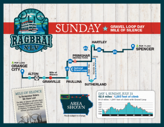 RAGBRAI Route: Sunday, July 23 – Orange City to Spencer