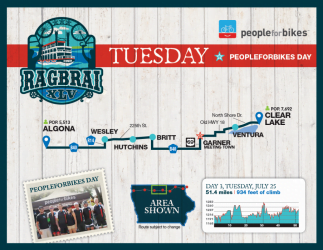 RAGBRAI Route: Tuesday, July 25 – Algona to Clear Lake