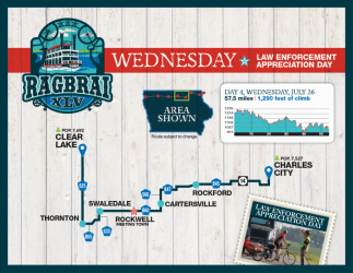 RAGBRAI Route: Wednesday, July 26 - Clear Lake to Charles City